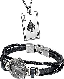 Aroncent 不锈钢项链编织皮革绳手链带扑克 2 件套