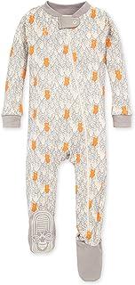 Burt's Bees 婴儿男孩中性睡衣,前拉链防滑连脚睡衣,*棉,熊图案,18 个月