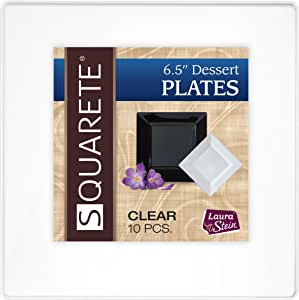 Squarete 16.51 cm 清爽甜点派对盘子硬塑料优雅一次性 每包 10 个甜点盘子 LSSQ-P6-C
