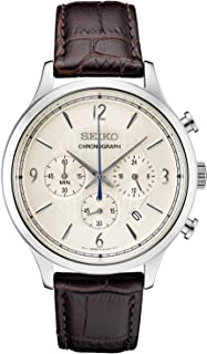 SEIKO 精工 男式不锈钢日本石英皮革小牛皮表带,棕色,0 休闲手表(型号:SSB341)