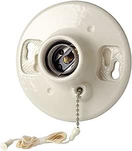 LEVITON 29816-c 海贼釉瓷器插座盒支架,白炽 lampholder ,拉链式,白色