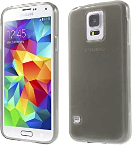 JUJEO Shiny Powder Soft TPU Cover Case for Samsung Galaxy S5 G900 G900M G900A - Non-Retail Packaging - Grey