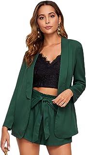 MakeMeChic 女式优雅波点 2 件套缺口领外套和弹性腰部短裤套装