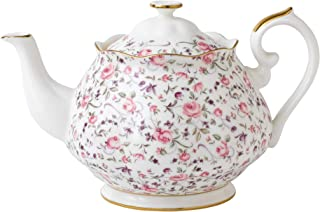 Royal Albert 现代复古 ROSCON25817 茶壶 1.25 升 玫瑰五彩纸屑 精致骨瓷