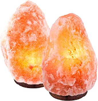 "CRYSTAL DECOR Set of 2 Hand Crafted Natural Himalayan 7"" Salt Lamp On Wooden Base"