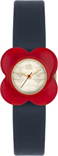 Orla Kiely 女士石英皮革表带手表——OK2062,蓝, Navy,27