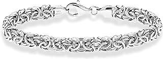 MiaBella 925 标准纯银意大利拜齐他环节手链,18.42 cm-20.3 cm