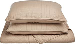 Impressions 100% Cotton, Soft, 3-Piece King/California King Williams Quilt Set, Taupe