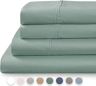 TRANQUIL NIGHTS 500 支棉床单套装 - 4 件套,长纤维精梳棉,棉缎编织,经典 Z 下摆,超柔闪耀,适合*大 43.18 厘米袋深的床垫 水绿色 全部 500AS-TQNS-AQUA-FSS