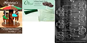 """Cybrtrayd """"Irish Lolly"""" Chocolate Mold with Chocolatier's Bundle, Includes 25 Sticks, 25 Cello Bags, 25 Green Twist Ties and Chocolatier's Guide"""