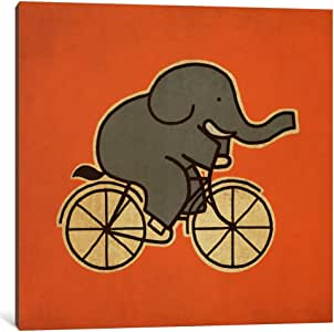 """iCanvasART Elephant Cycle #1 Canvas Print by Terry Fan, 12"""" x 12""""/0.75"""" Deep"""