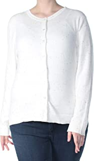 Karen Scott 46 美元女式新款 1042 象牙色斑点长袖纽扣毛衣 XL 码