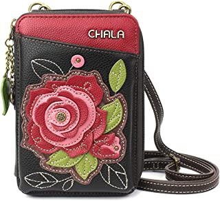 Chala 钱包斜挎手机钱包 - 女式人造皮革多色手提包带可调节肩带 Red Rose - Burgundy 单一尺寸