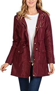 Auliné Collection 女士缎面人造毛皮衬里连帽长外套防漏夹克