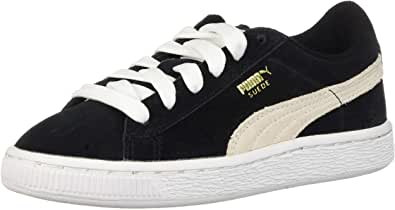 PUMA Suede Junior Sneaker (Little Kid/Big Kid), Black/White, 1.5 M US Little Kid