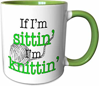 3dRose EvaDane - 趣味语录 - If Im sittin Im knittin, 石灰绿 - 马克杯 绿色/白色 15-oz Two-Tone Green Mug mug_193226_12