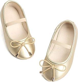 Bear Mall 女婴鞋一脚蹬芭蕾平底鞋黑色制服鞋适合学步女童礼服鞋(幼儿/小童)