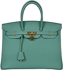 cherish KISS 女式经典真皮手提包挂锁手提包