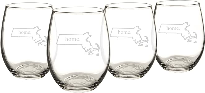 Cathy's Concepts Alaska Home State Stemless Wine Glasses 透明