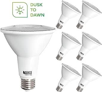 Sunco 照明 6 件装 PAR30 LED 灯泡,黄昏到黎明光线传感器,11W=75W,4000K 冷白,850LM,自动开/关*泛光灯 - UL