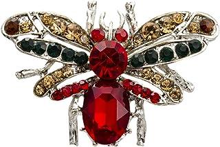 Knighthood 银色基底蜜蜂 红色半珍贵石带黑色香槟色施华洛世奇细节胸针/翻领别针