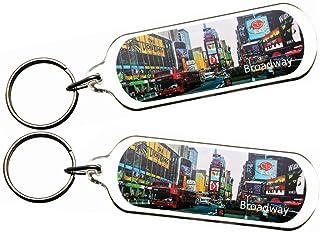 2 件装非常具收藏价值的纽约纽约纽约曼哈顿地标照片钥匙扣礼品纪念品 2X A10_Broadway