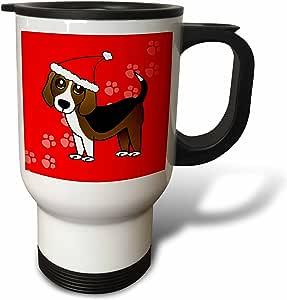 3dRose tm_35545_1 Cute Beagle Cartoon Dog Red with Santa Hat Travel Mug, 14-Ounce, Stainless Steel
