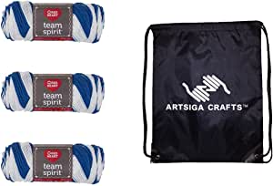 Red Heart Team Spirit Yarn (3-Pack) Royal/White E797-0947 with 1 Artsiga Crafts Project Bag