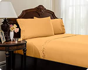 MASTERTEX 刺绣舒适床单套装来自 REVERSIFI 系列。 琥珀黄金 Queen COMIN16JU022319
