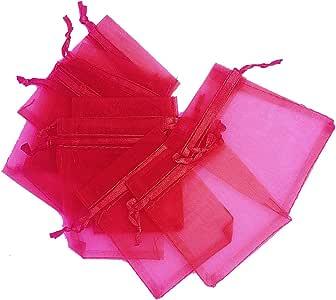 "LEFVTM 透明硬纱袋透明抽绳袋珠宝婚礼派对圣诞节礼品袋,50 个装 桃红色 S(2.5""x3.5"") unknown"