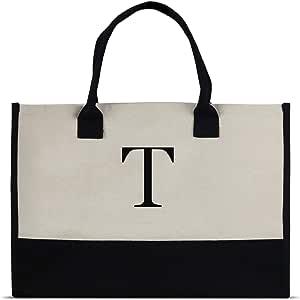 Monogram 手提包采用 * 纯棉帆布和别致个性化字母组合 T