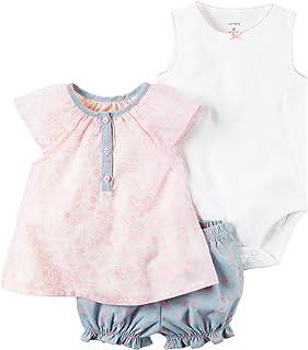Carter ' s 女婴3件套连体衣 + 牛仔短裤套装
