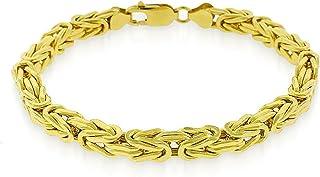 925 纯银和黄金或镀铑 6mm 空心拜齐他盒链项链或手链 - 19.05cm - 76.2cm 可选