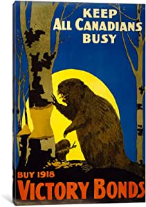 iCanvasART PCA110 Keep All Canadians Busy, 1918 Victory Bonds by Print Collection Comics Canvas Print, 26 by 18-Inch, 0.75-Inch Deep