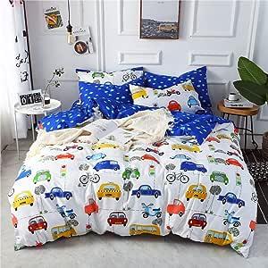 MKXI 动物羽绒被套套装动物动物园可爱卡通风格儿童床上用品,柔软全尺寸/加大双人床床上用品套装带 2 个枕套 汽车总动员 两个 MK1791t