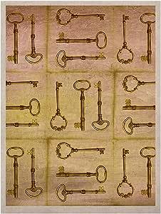 Kess InHouse Marianna Tankelevich Secret Keys 天然帆布艺术画,60.96 x 91.44 厘米,棕褐色