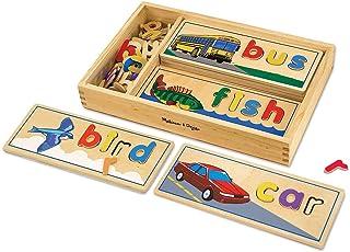 Melissa & Doug 观察与拼写木制玩具,有益于大脑,带有8个双面拼写板和64个字母