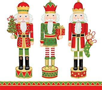 Caspari 手巾圣诞装饰圣诞派对纸巾浴室装饰坚果工 白色 Guest Towels Pack of 15 3.5
