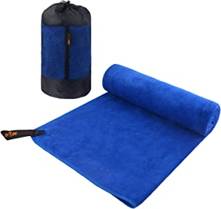SUNLAND 超细纤维健身浴巾超柔软旅行露营毛巾*吸水游泳运动毛巾带手提袋,适合成人和儿童 60.96 厘米 X 121.92 厘米