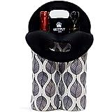 葡萄酒袋携带瓶架 - WineTote 瓶袋耐用氯丁橡胶保温双葡萄酒携带冷藏袋非常适合旅行 黑色 W100