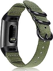 Fintie 指环 Fitbit Charge 3 软编织尼龙运动带替换带,适用于 Fitbit Charge 3 和 Charge 3 SE 健身活动追踪器女士男士(橄榄色)