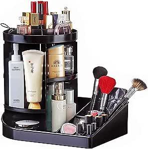 Ogrmar 可调360度旋转化妆收纳盒托盘/大容量化妆品旋转支架收纳盒,适用于爽肤水、奶油、化妆刷、口红等 黑色 RMO-1