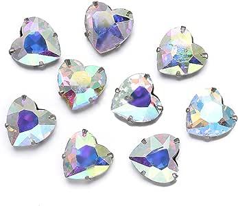 Greatdeal68 心形玻璃莱茵石链条银饰珠 4 孔水晶/水晶 AB/颜色 Crystal Ab 10mm (12 pcs) 150