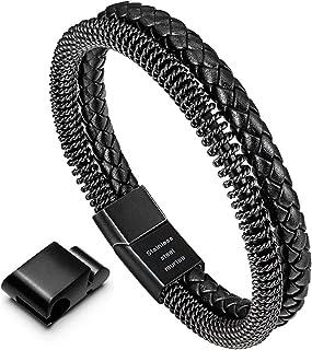 murtoo 男式手链不锈钢 - 编织皮革手链男式带磁扣 20.98 cm