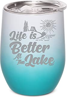 Shop4Ever Life Is Better At The Lake 激光雕刻无钢圈酒杯 White Teal Ombre 12盎司