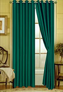 "Editex Home Curtain Faux Silk Panel with Grommets, 108"", Evergreen"