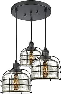 Innovations 211/3-BK-G78-CE 大铃铛笼 3 灯多吊灯属于 Franklin 修复系列,哑光黑,需配变压器