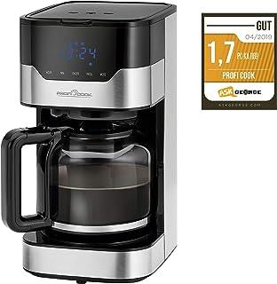 ProfiCook PC-KA 1169 咖啡机,电子芳香选择功能,传感器触摸操作/触摸屏,24小时LED数字定时器,1.5升,不锈钢/黑色