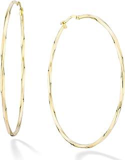 Miabella 18K 金纯银意大利 2mm 圆形扭曲环状耳环 女式 15mm,20mm,30mm,40mm,50mm,60mm