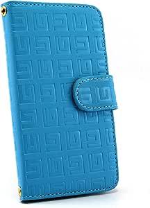白色坚果回纹图案手机保护壳翻盖式 蓝色 4_ AQUOS R SH-03J